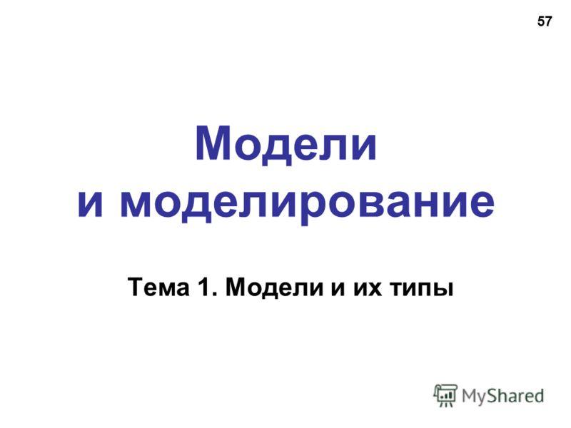 57 Модели и моделирование Тема 1. Модели и их типы