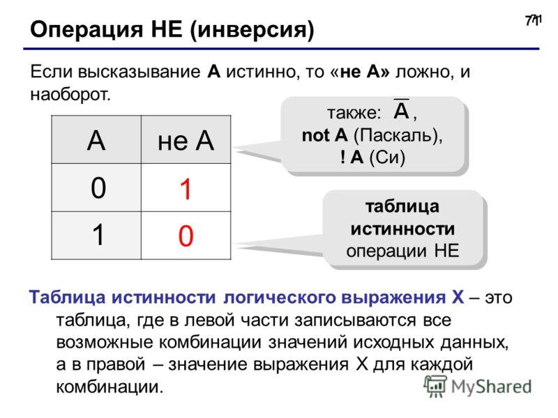 71 Операция НЕ (инверсия) Если высказывание A истинно, то «не А» ложно, и наоборот. Ане А 1 0 0 1 таблица истинности операции НЕ также:, not A (Паскаль), ! A (Си) Таблица истинности логического выражения Х – это таблица, где в левой части записываютс