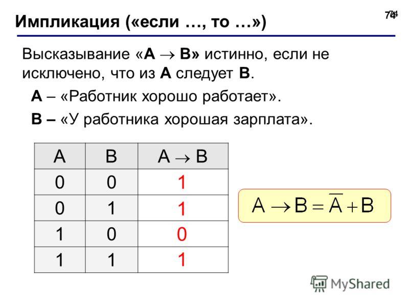 74 Импликация («если …, то …») Высказывание «A B» истинно, если не исключено, что из А следует B. A – «Работник хорошо работает». B – «У работника хорошая зарплата». ABА B 00 01 10 11 1 1 1 0
