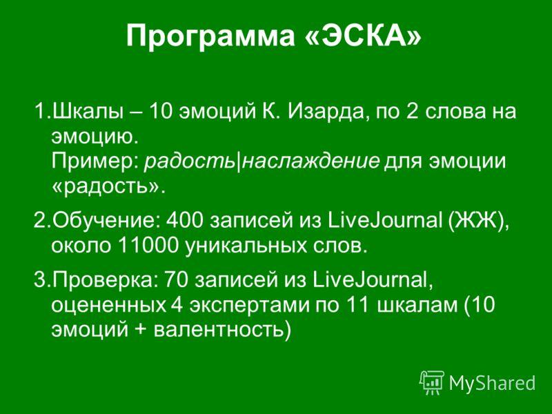 Программа «ЭСКА» 1.Шкалы – 10 эмоций К. Изарда, по 2 слова на эмоцию. Пример: радость|наслаждение для эмоции «радость». 2.Обучение: 400 записей из LiveJournal (ЖЖ), около 11000 уникальных слов. 3.Проверка: 70 записей из LiveJournal, оцененных 4 экспе