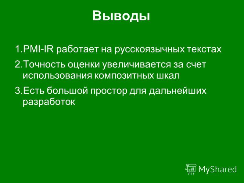 Выводы 1.PMI-IR работает на русскоязычных текстах 2.Точность оценки увеличивается за счет использования композитных шкал 3.Есть большой простор для дальнейших разработок
