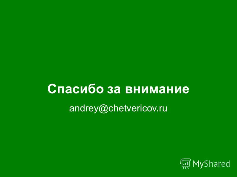 Спасибо за внимание andrey@chetvericov.ru