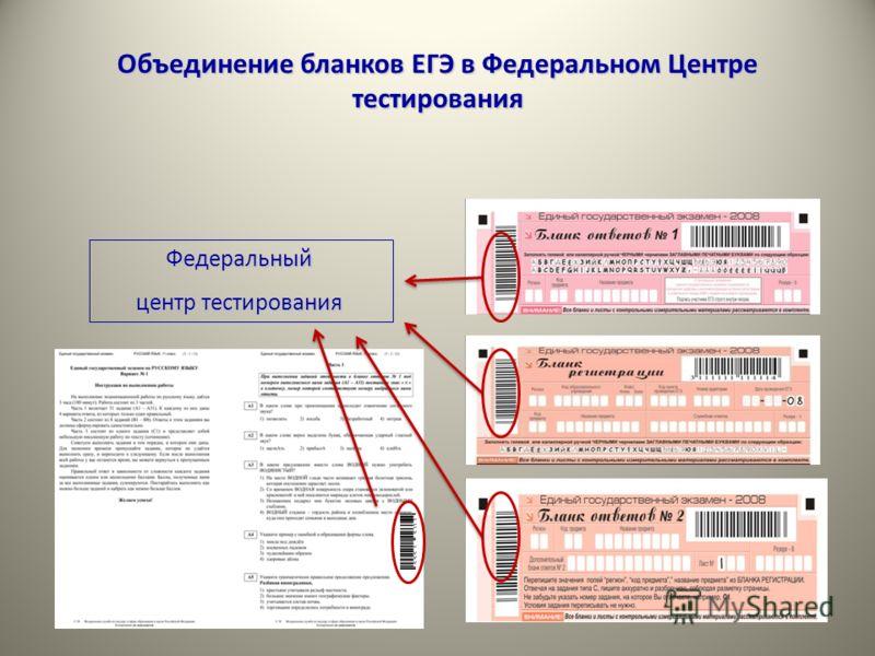 Объединение бланков ЕГЭ в Федеральном Центре тестирования Федеральный центр тестирования