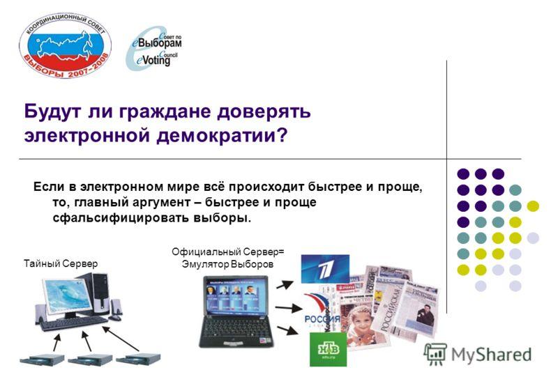 Будут ли граждане доверять электронной демократии? Если в электронном мире всё происходит быстрее и проще, то, главный аргумент – быстрее и проще сфальсифицировать выборы. Тайный Сервер Официальный Сервер= Эмулятор Выборов