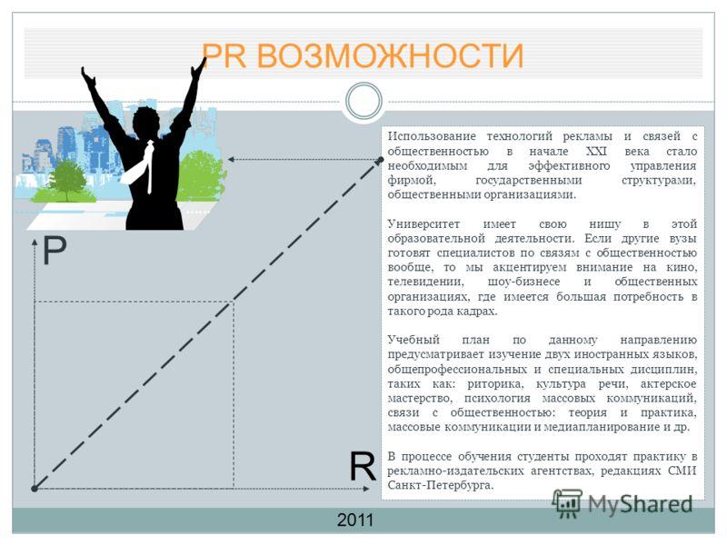 PR ВОЗМОЖНОСТИ P R Использование технологий рекламы и связей с общественностью в начале XXI века стало необходимым для эффективного управления фирмой, государственными структурами, общественными организациями. Университет имеет свою нишу в этой образ