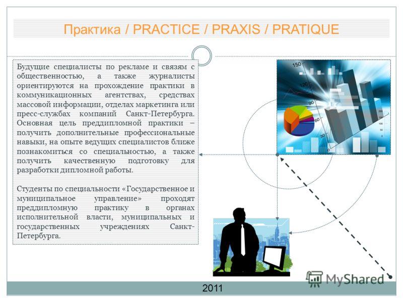Практика / PRACTICE / PRAXIS / PRATIQUE Будущие специалисты по рекламе и связям с общественностью, а также журналисты ориентируются на прохождение практики в коммуникационных агентствах, средствах массовой информации, отделах маркетинга или пресс-слу