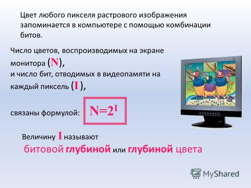 Число цветов, воспроизводимых на экране монитора ( N ), и число бит, отводимых в видеопамяти на каждый пиксель ( I ), связаны формулой: N=2 I Величину I называют битовой глубиной или глубиной цвета Цвет любого пикселя растрового изображения запоминае
