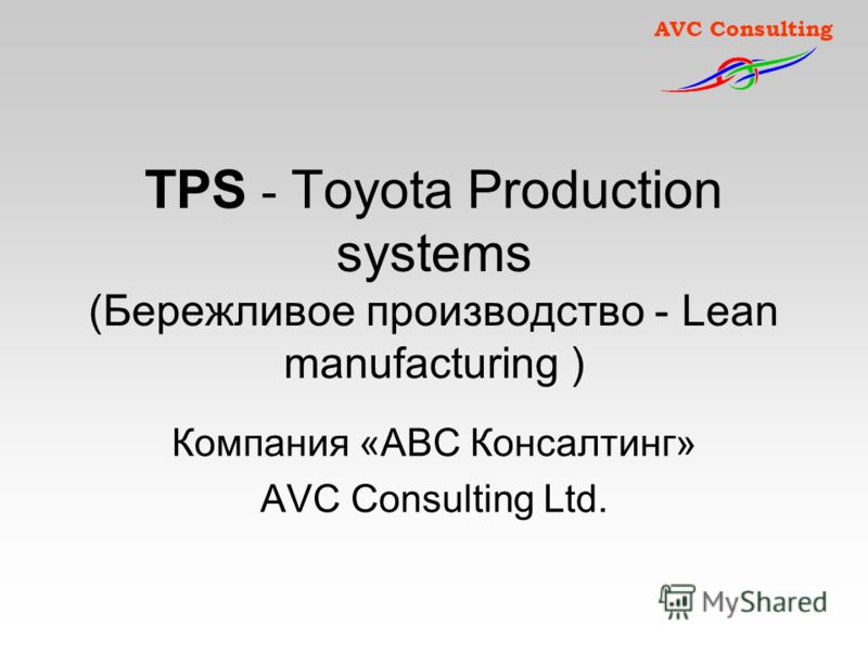 AVC Consulting TPS - Toyota Production systems (Бережливое производство - Lean manufacturing ) Компания «АВС Консалтинг» AVC Consulting Ltd.