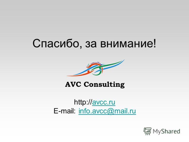 Спасибо, за внимание! AVC Consulting http://avcc.ruavcc.ru E-mail: info.avcc@mail.ruinfo.avcc@mail.ru
