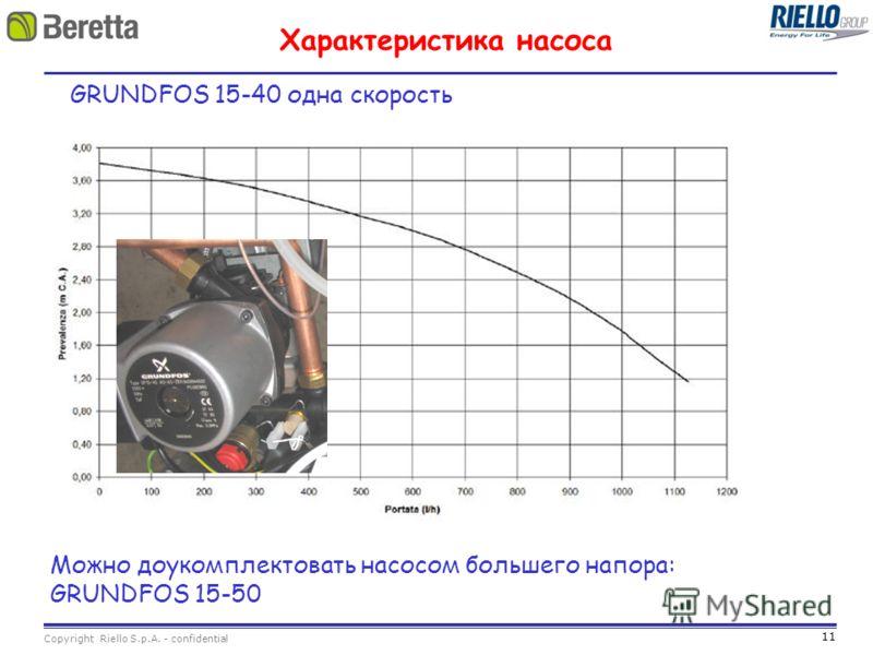 11 Copyright Riello S.p.A. - confidential Характеристика насоса GRUNDFOS 15-40 одна скорость Можно доукомплектовать насосом большего напора: GRUNDFOS 15-50
