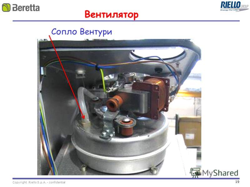 19 Copyright Riello S.p.A. - confidential Вентилятор Сопло Вентури