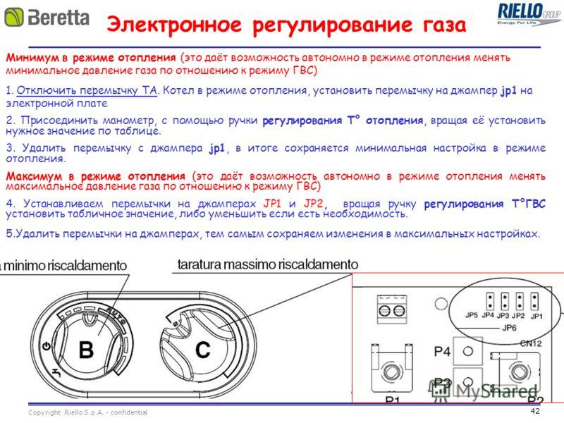 42 Copyright Riello S.p.A. - confidential Электронное регулирование газа Минимум в режиме отопления (это даёт возможность автономно в режиме отопления менять минимальное давление газа по отношению к режиму ГВС) 1. Отключить перемычку TA. Котел в режи