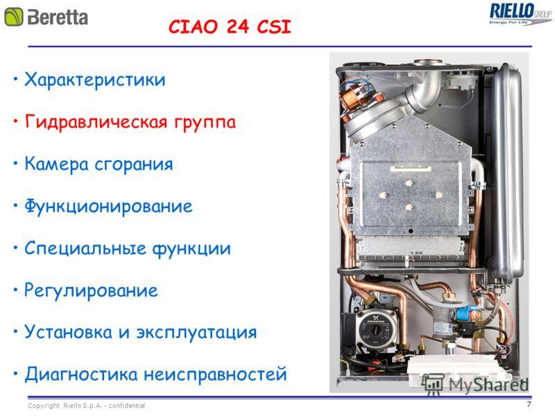 7 Copyright Riello S.p.A. - confidential CIAO 24 CSI Характеристики Гидравлическая группа Камера сгорания Функционирование Специальные функции Регулирование Установка и эксплуатация Диагностика неисправностей