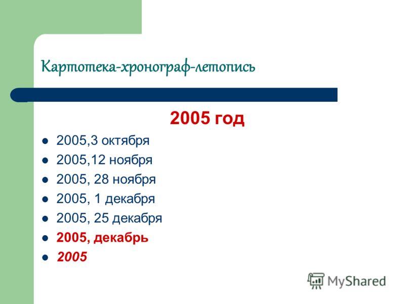 Картотека-хронограф-летопись 2005 год 2005,3 октября 2005,12 ноября 2005, 28 ноября 2005, 1 декабря 2005, 25 декабря 2005, декабрь 2005