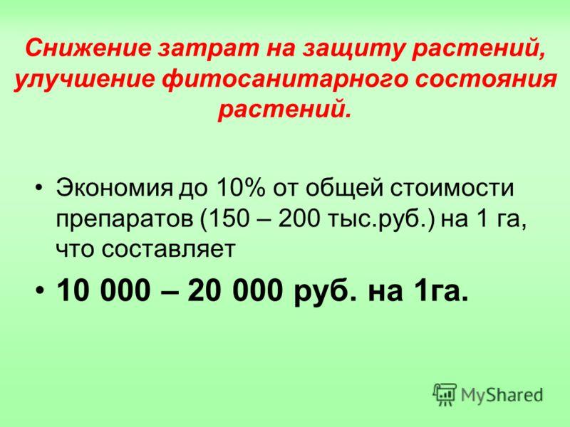 Снижение затрат на защиту растений, улучшение фитосанитарного состояния растений. Экономия до 10% от общей стоимости препаратов (150 – 200 тыс.руб.) на 1 га, что составляет 10 000 – 20 000 руб. на 1га.