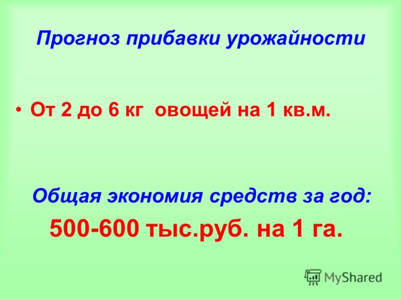 Прогноз прибавки урожайности От 2 до 6 кг овощей на 1 кв.м. Общая экономия средств за год: 500-600 тыс.руб. на 1 га.