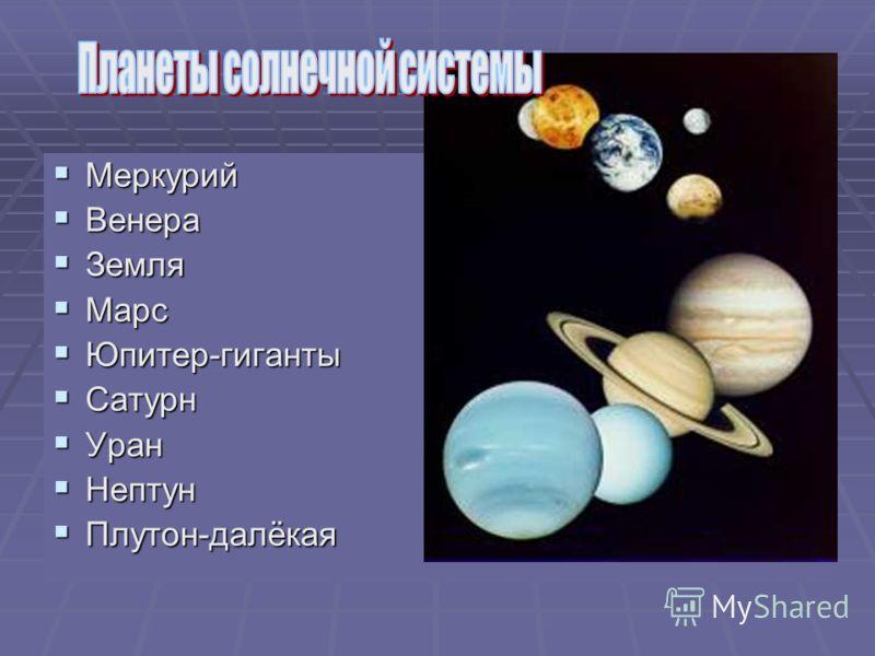 Меркурий Меркурий Венера Венера Земля Земля Марс Марс Юпитер-гиганты Юпитер-гиганты Сатурн Сатурн Уран Уран Нептун Нептун Плутон-далёкая Плутон-далёкая