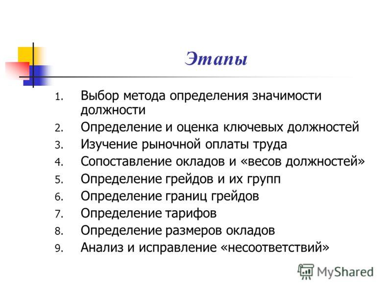 Этапы 1. Выбор метода определения значимости должности 2. Определение и оценка ключевых должностей 3. Изучение рыночной оплаты труда 4. Сопоставление окладов и «весов должностей» 5. Определение грейдов и их групп 6. Определение границ грейдов 7. Опре