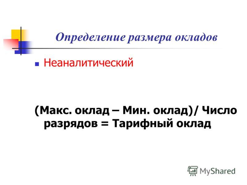 Определение размера окладов Неаналитический (Макс. оклад – Мин. оклад)/ Число разрядов = Тарифный оклад