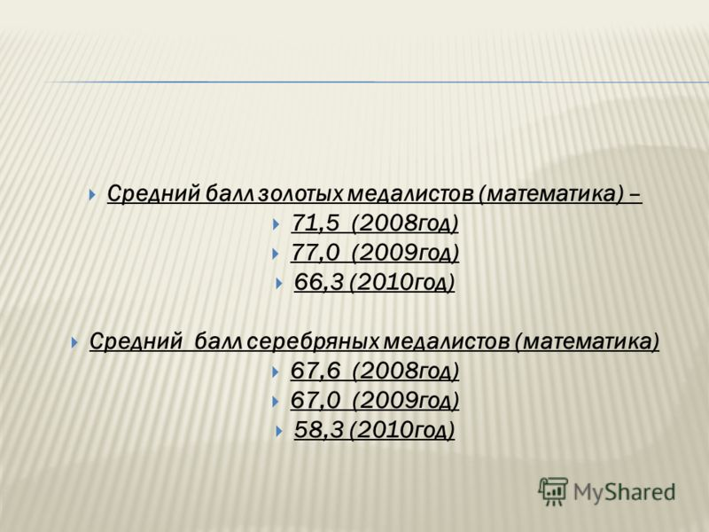 Средний балл золотых медалистов (математика) – 71,5 (2008год) 77,0 (2009год) 66,3 (2010год) Средний балл серебряных медалистов (математика) 67,6 (2008год) 67,0 (2009год) 58,3 (2010год)