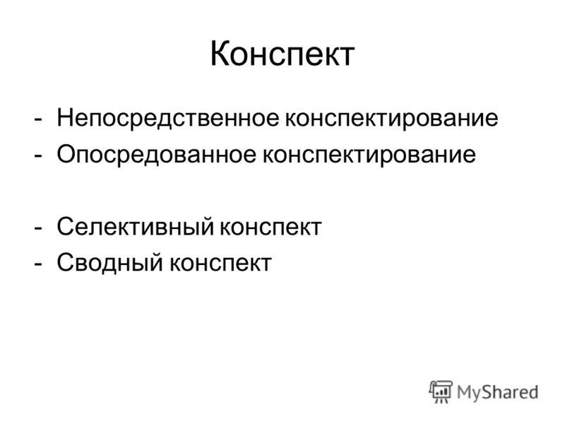 Конспект -Непосредственное конспектирование -Опосредованное конспектирование -Селективный конспект -Сводный конспект
