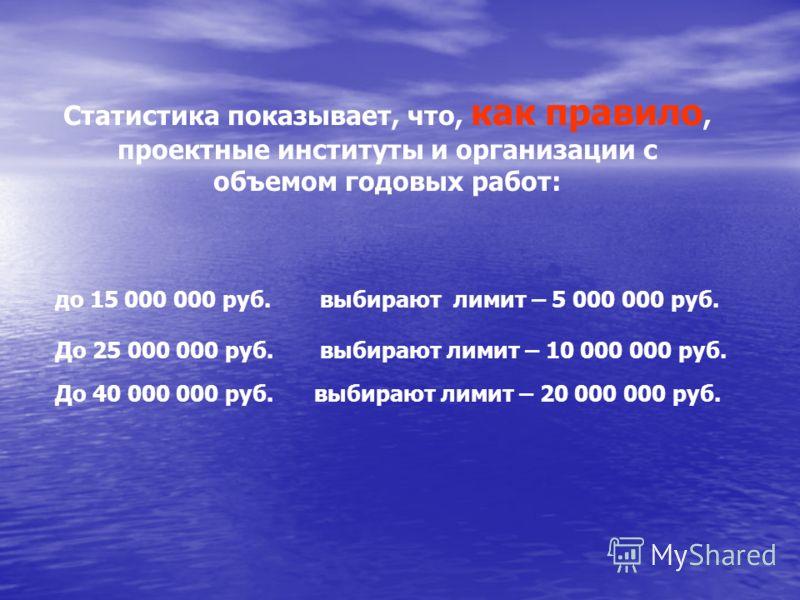 Статистика показывает, что, как правило, проектные институты и организации с объемом годовых работ: до 15 000 000 руб. выбирают лимит – 5 000 000 руб. До 25 000 000 руб. выбирают лимит – 10 000 000 руб. До 40 000 000 руб. выбирают лимит – 20 000 000