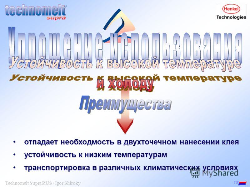 TIP Technomelt Supra RUS / Igor Shiroky отпадает необходмость в двухточечном нанесении клея отпадает необходмость в двухточечном нанесении клея устойчивость к низким температурам устойчивость к низким температурам транспортировка в различных климатич