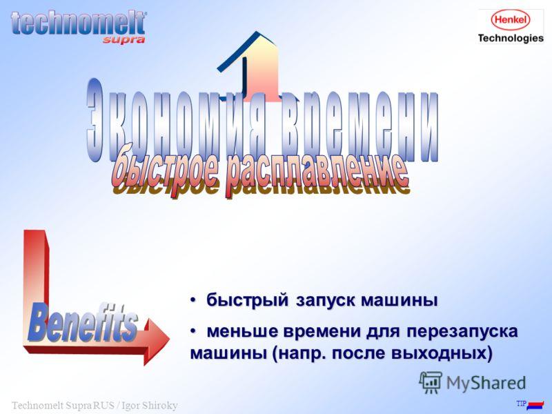 TIP Technomelt Supra RUS / Igor Shiroky быстрый запуск машины быстрый запуск машины меньше времени для перезапуска машины (напр. после выходных) меньше времени для перезапуска машины (напр. после выходных)