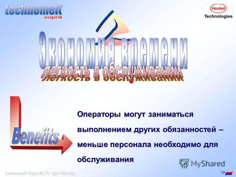 TIP Technomelt Supra RUS / Igor Shiroky Операторы могут заниматься выполнением других обязанностей – меньше персонала необходимо для обслуживания