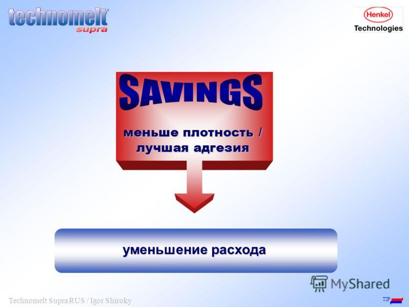 TIP Technomelt Supra RUS / Igor Shiroky уменьшение расхода меньше плотность / лучшая адгезия