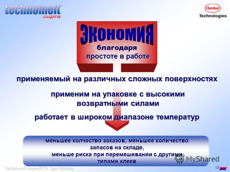 TIP Technomelt Supra RUS / Igor Shiroky работает в широком диапазоне температур меньшее колчество заказов, меньшее количество запасов на складе, меньше риска при перемешивании с другими типами клеев применяемый на различных сложных поверхностях прост