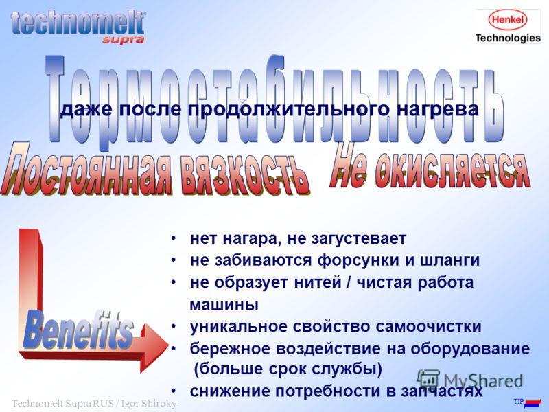 TIP Technomelt Supra RUS / Igor Shiroky нет нагара, не загустевает не забиваются форсунки и шланги не образует нитей / чистая работа машины уникальное свойство самоочистки бережное воздействие на оборудование (больше срок службы) снижение потребности