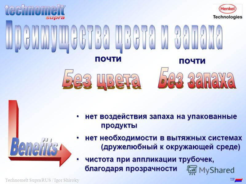 TIP Technomelt Supra RUS / Igor Shiroky нет воздействия запаха на упакованные продукты нет воздействия запаха на упакованные продукты нет необходимости в вытяжных системах (дружелюбный к окружающей среде) нет необходимости в вытяжных системах (дружел