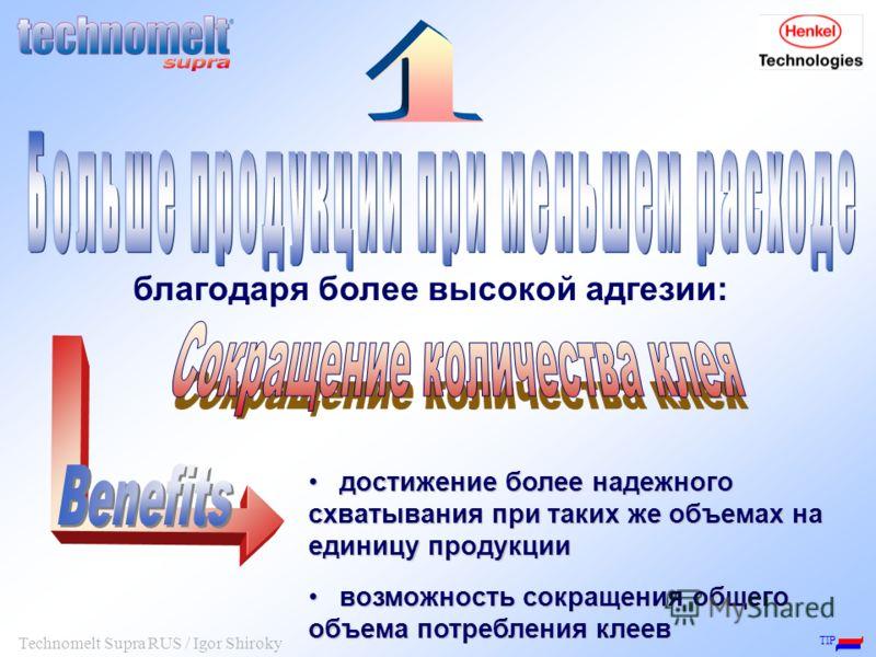TIP Technomelt Supra RUS / Igor Shiroky достижение более надежного схватывания при таких же объемах на единицу продукции достижение более надежного схватывания при таких же объемах на единицу продукции возможность сокращения общего объема потребления