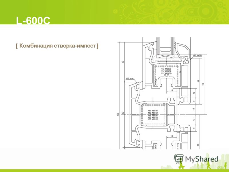 L-600C [ Комбинация створка-импост ]