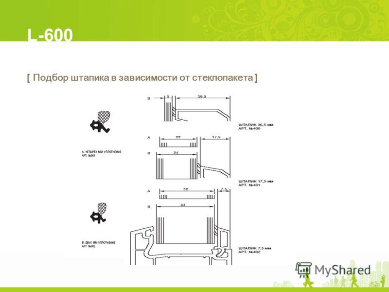 L-600 [ Подбор штапика в зависимости от стеклопакета ]
