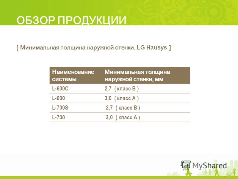 ОБЗОР ПРОДУКЦИИ [ Минимальная толщина наружной стенки. LG Hausys ] Наименование системы Минимальная толщина наружной стенки, мм L-600C2,7 ( класс В ) L-6003,0 ( класс А ) L-700S 2,7 ( класс B ) L-700 3,0 ( класс А )