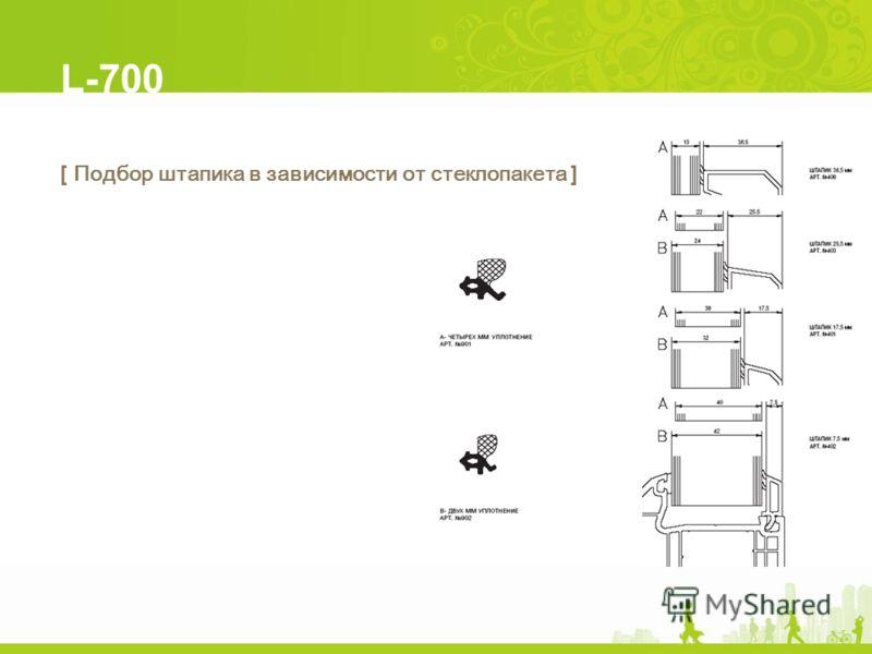 L-700 [ Подбор штапика в зависимости от стеклопакета ]