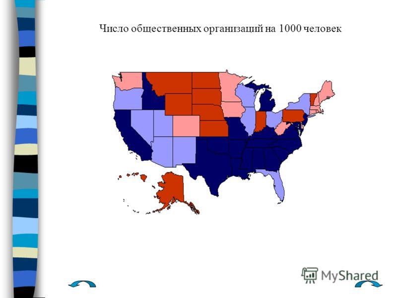 Число общественных организаций на 1000 человек