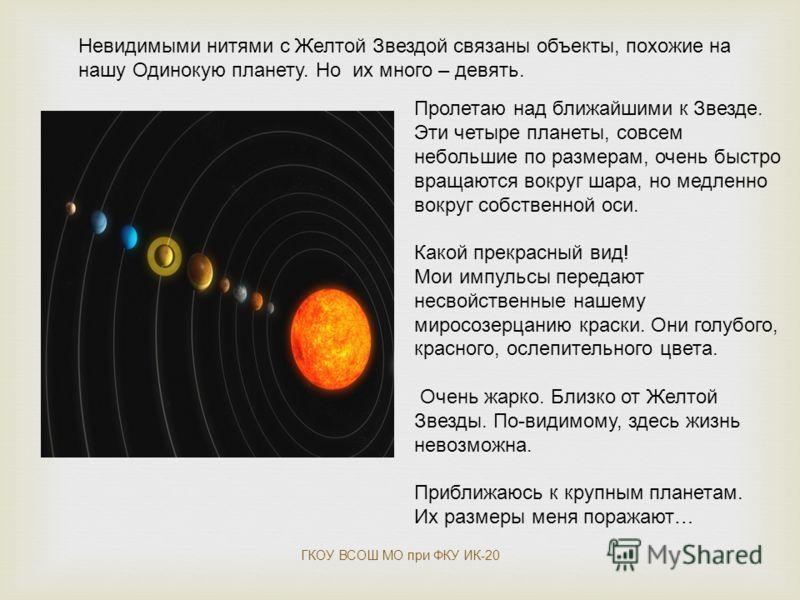 Невидимыми нитями с Желтой Звездой связаны объекты, похожие на нашу Одинокую планету. Но их много – девять. Пролетаю над ближайшими к Звезде. Эти четыре планеты, совсем небольшие по размерам, очень быстро вращаются вокруг шара, но медленно вокруг соб