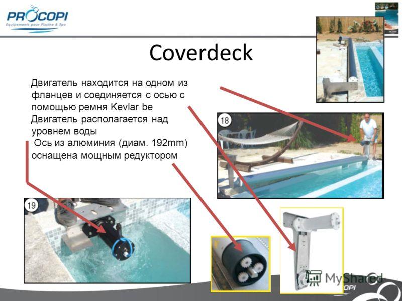 Coverdeck Двигатель находится на одном из фланцев и соединяется с осью с помощью ремня Kevlar be Двигатель располагается над уровнем воды Ось из алюминия (диам. 192mm) оснащена мощным редуктором
