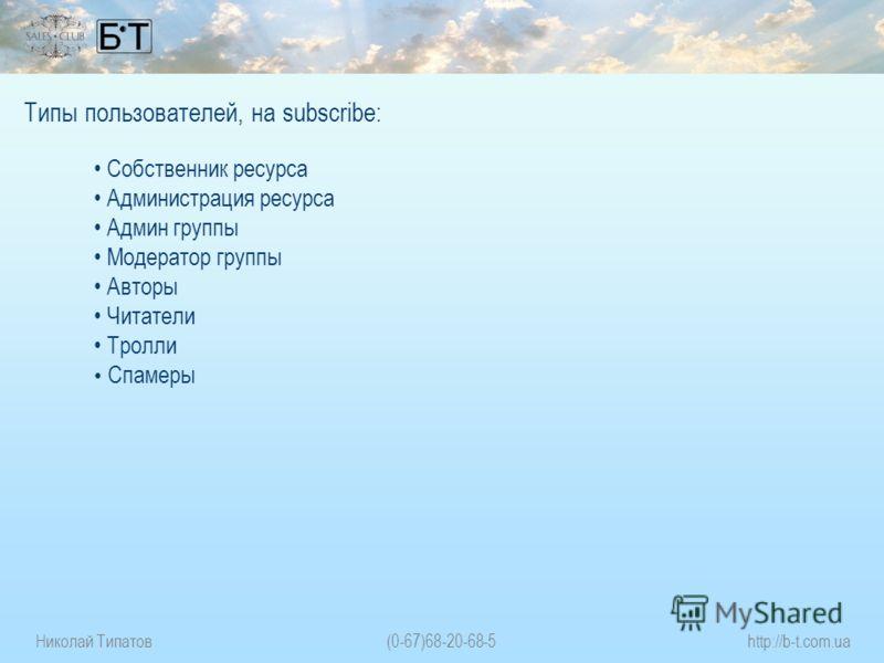 Николай Типатов(0-67)68-20-68-5http://b-t.com.ua Типы пользователей, на subscribe: Собственник ресурса Администрация ресурса Админ группы Модератор группы Авторы Читатели Тролли Спамеры