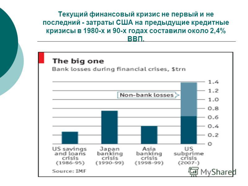 Текущий финансовый кризис не первый и не последний - затраты США на предыдущие кредитные кризисы в 1980-х и 90-х годах составили около 2,4% ВВП.
