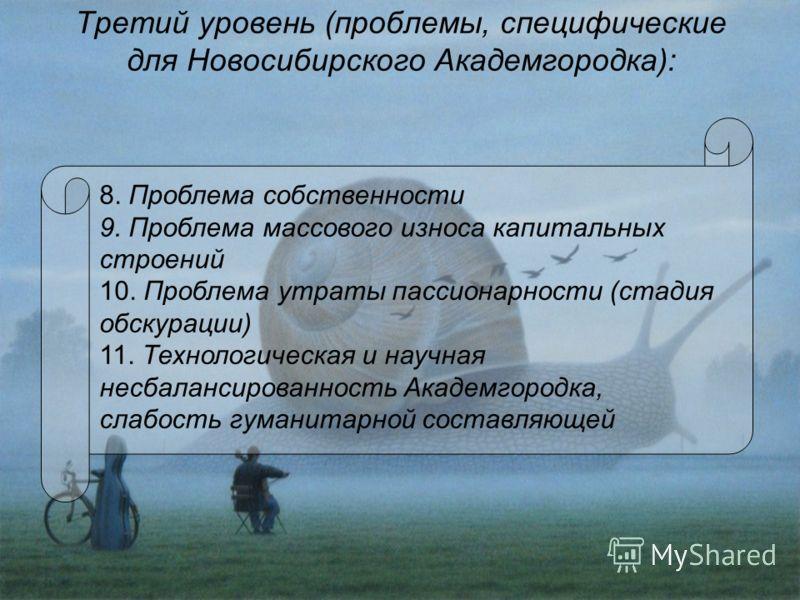Третий уровень (проблемы, специфические для Новосибирского Академгородка): 8. Проблема собственности 9. Проблема массового износа капитальных строений 10. Проблема утраты пассионарности (стадия обскурации) 11. Технологическая и научная несбалансирова