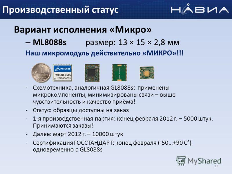 Вариант исполнения «Микро» – ML8088s размер: 13 × 15 × 2,8 мм Наш микромодуль действительно «МИКРО»!!! -Схемотехника, аналогичная GL8088s: применены микрокомпоненты, минимизированы связи – выше чувствительность и качество приёма! -Статус: образцы дос