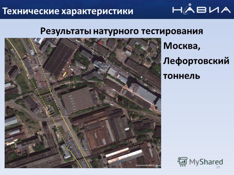 Результаты натурного тестирования Москва, Лефортовский тоннель 20 Технические характеристики