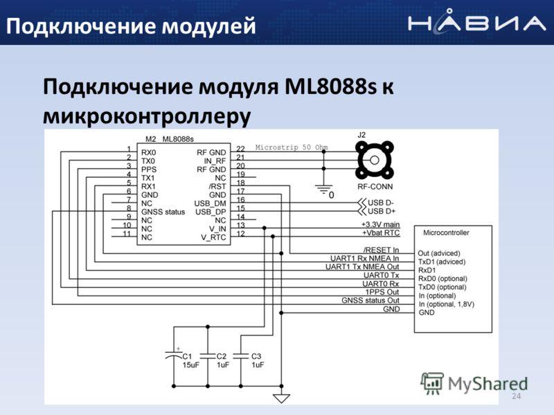 24 Подключение модуля ML8088s к микроконтроллеру Подключение модулей