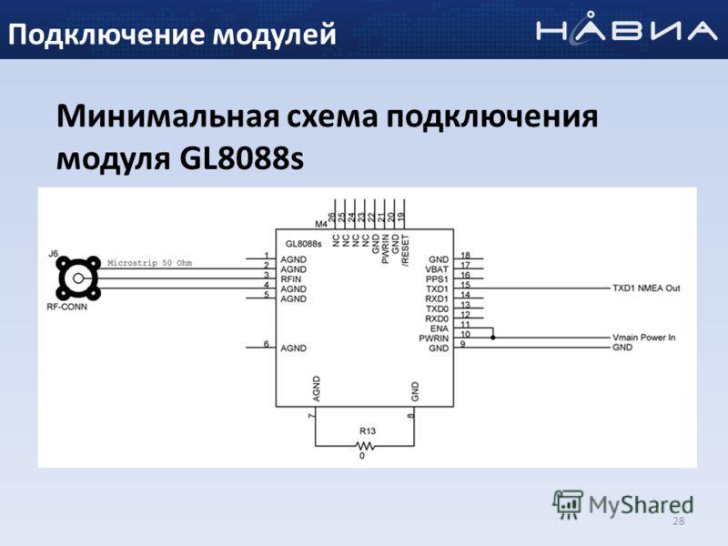 28 Минимальная схема подключения модуля GL8088s Подключение модулей