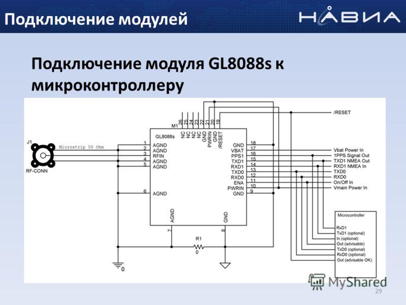 29 Подключение модуля GL8088s к микроконтроллеру Подключение модулей