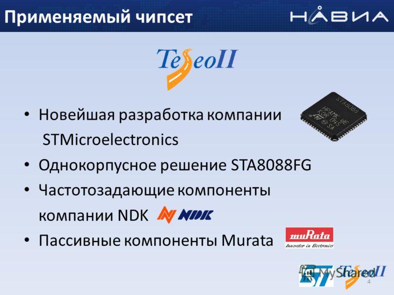 Новейшая разработка компании STMicroelectronics Однокорпусное решение STA8088FG Частотозадающие компоненты компании NDK Пассивные компоненты Murata 4 Применяемый чипсет